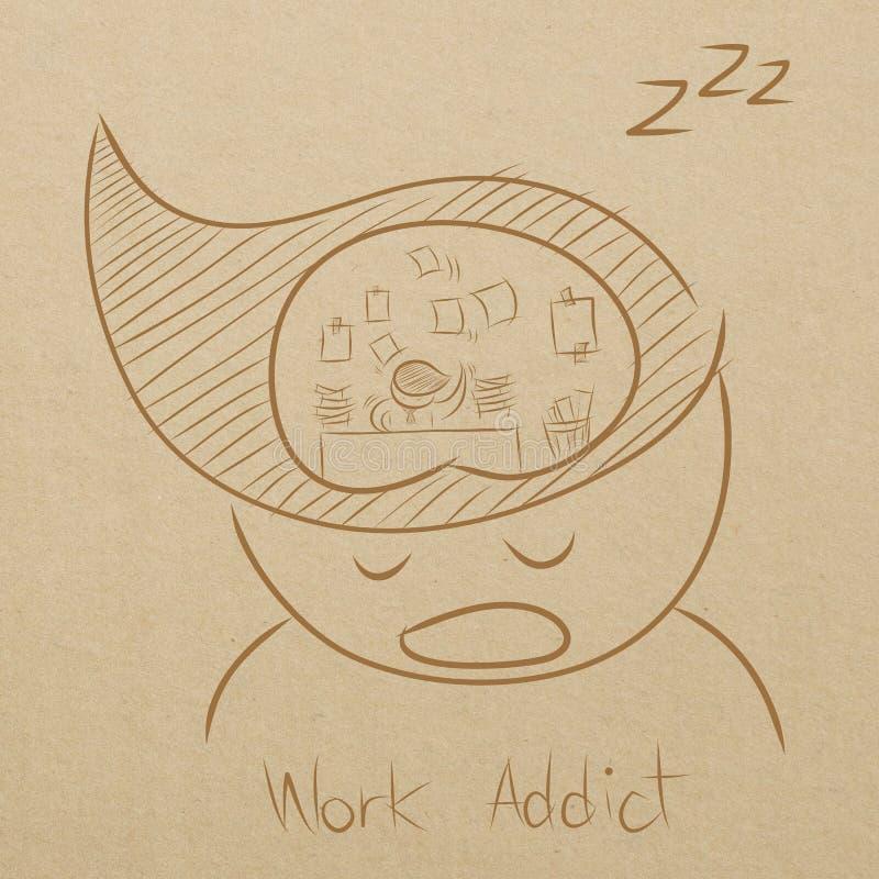 un hombre que soña sobre el trabajo mientras que duerme ilustración del vector