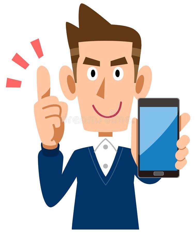 Un hombre que sostiene un smartphone y explica las cuestiones principales ilustración del vector