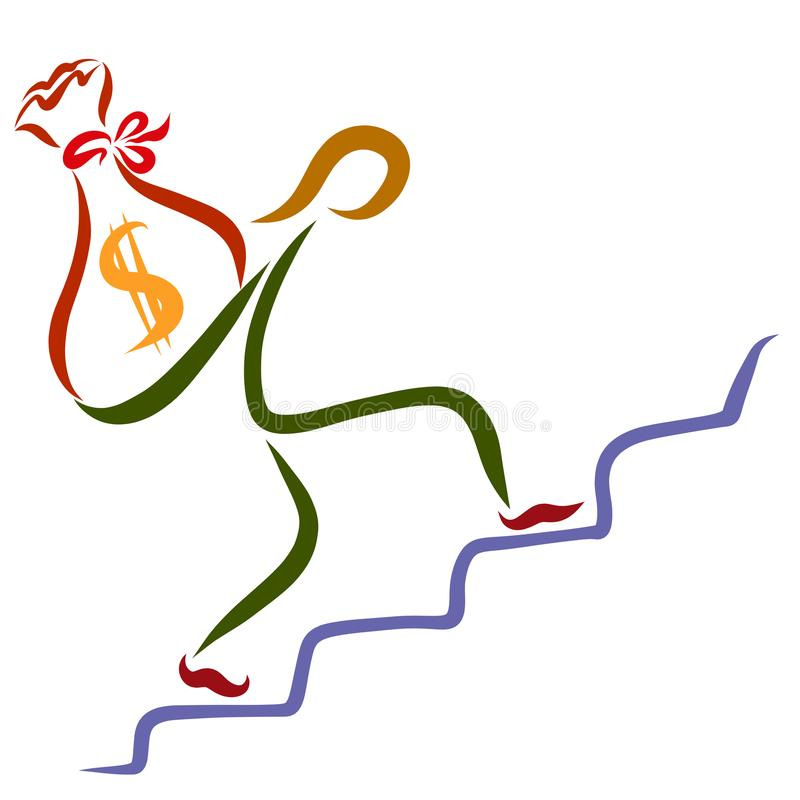 Un hombre que sube una escalera con un bolso grande del dinero ilustración del vector