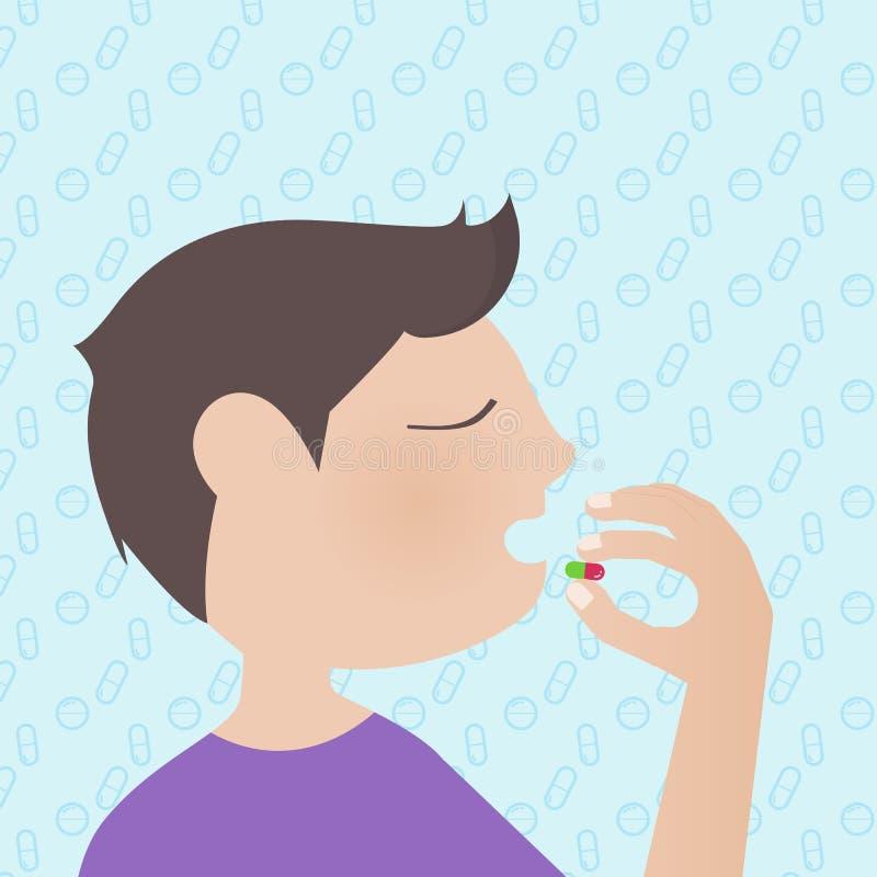 Un hombre que toma una medicina con los iconos médicos modela el fondo ilustración del vector