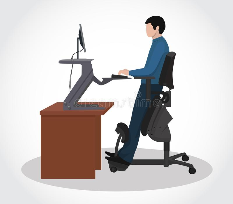 Un hombre que trabaja en un ordenador en una silla ergonómica ilustración del vector