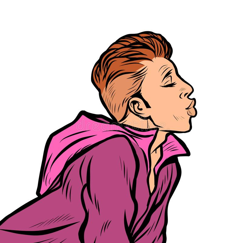 Un hombre quiere besarse ilustración del vector