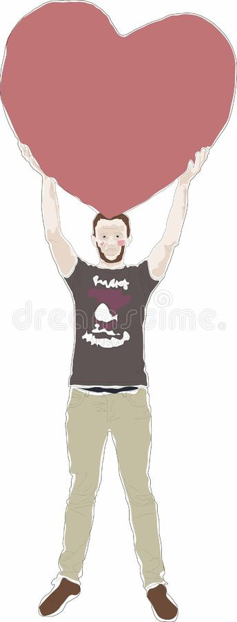 Un hombre se coloca con un corazón de piedra enorme libre illustration