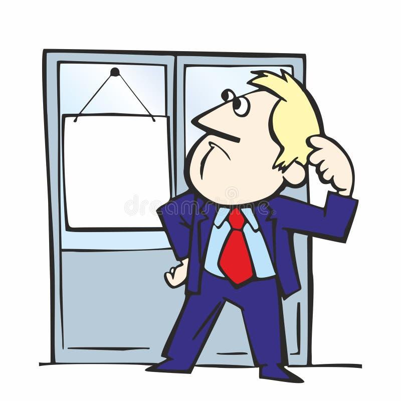 Un hombre se coloca delante de la puerta, ejemplo retro del vector de la historieta stock de ilustración