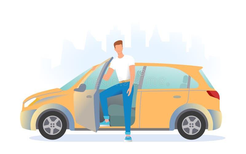 Un hombre se está colocando al lado del coche Un hombre joven está consiguiendo en el coche foto de archivo libre de regalías