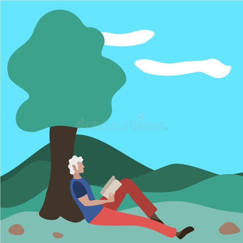Un hombre se sienta leyendo un libro en un parque cerca de un árbol ilustración del vector
