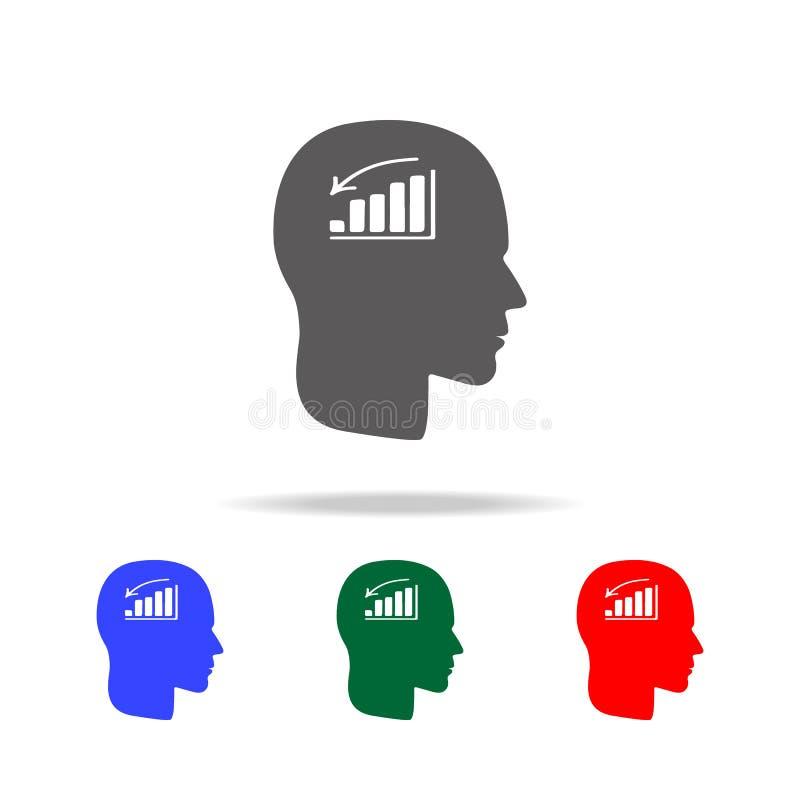 un hombre sin icono del humor Elementos del desorden psicológico en iconos coloreados multi Icono superior del diseño gráfico de  stock de ilustración