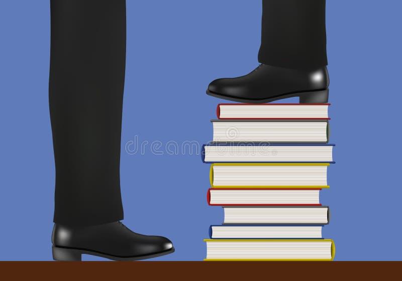 Un hombre toma la dirección subiendo en una pila de libros, símbolo de la instrucción ilustración del vector