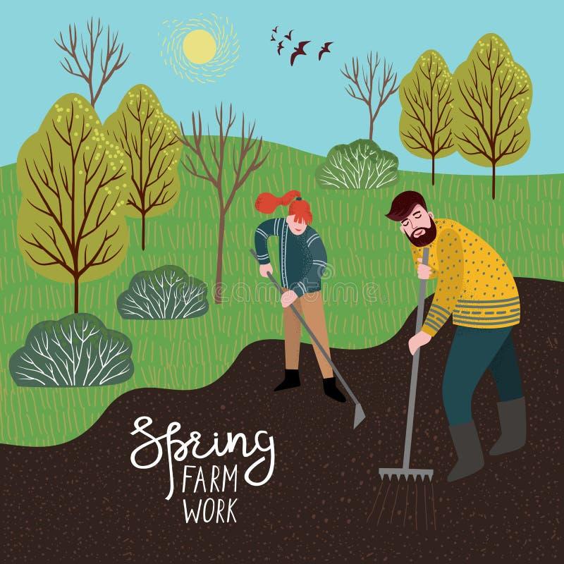 Un hombre y una mujer cultivan la tierra con un rastrillo y una azada para plantar Ejemplo del vector en estilo plano lindo ilustración del vector
