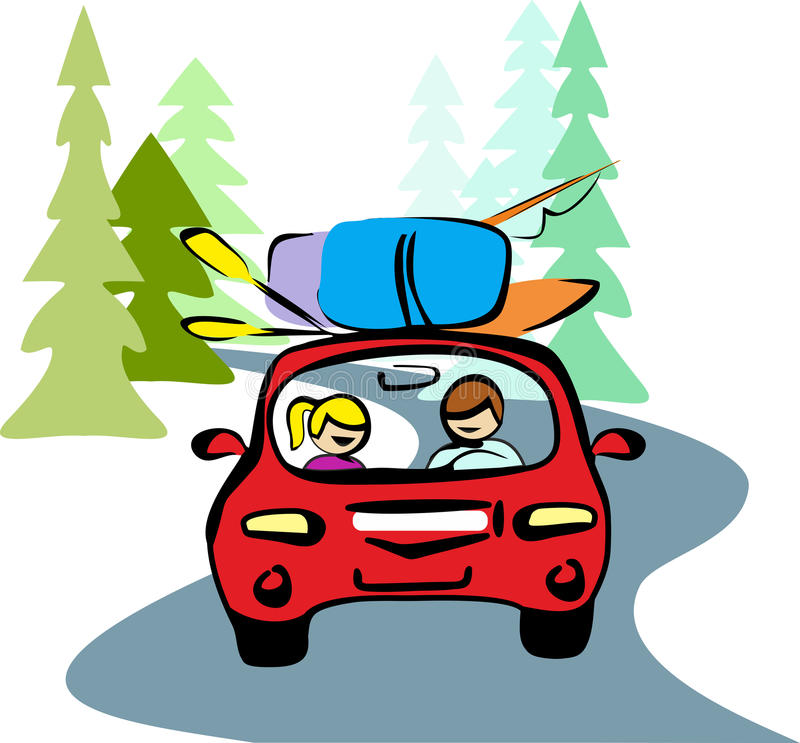 Un hombre y una mujer en la conducción de automóviles roja en un camino forestal a descansar tomando sus mochilas, barco, remos,  ilustración del vector