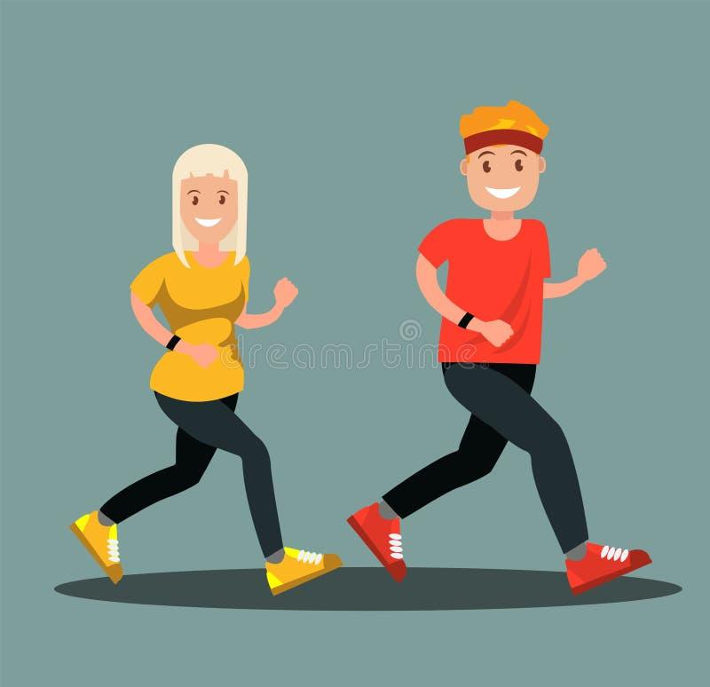 Un hombre y una mujer en la ropa de los deportes que hace un funcionamiento stock de ilustración
