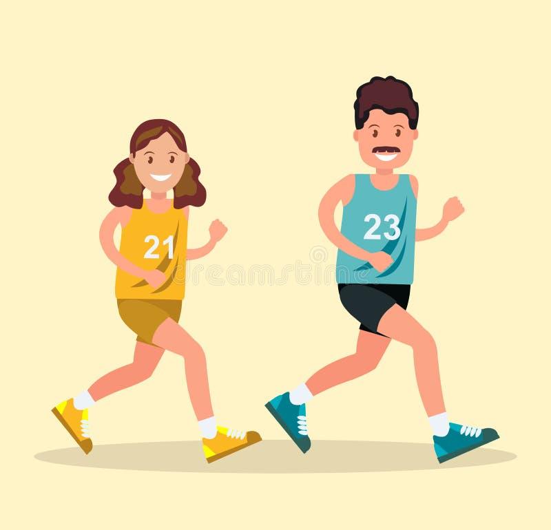 Un hombre y una mujer en la ropa de los deportes que hace un funcionamiento ilustración del vector