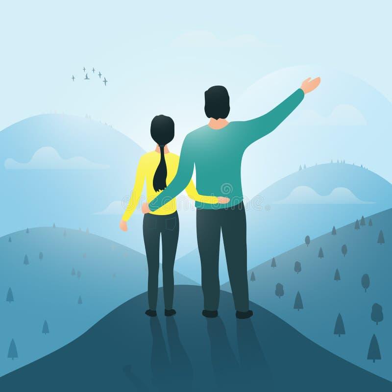 Un hombre y una mujer encima de una mirada de la montaña en la distancia Vista posterior de la parte posterior ilustración del vector