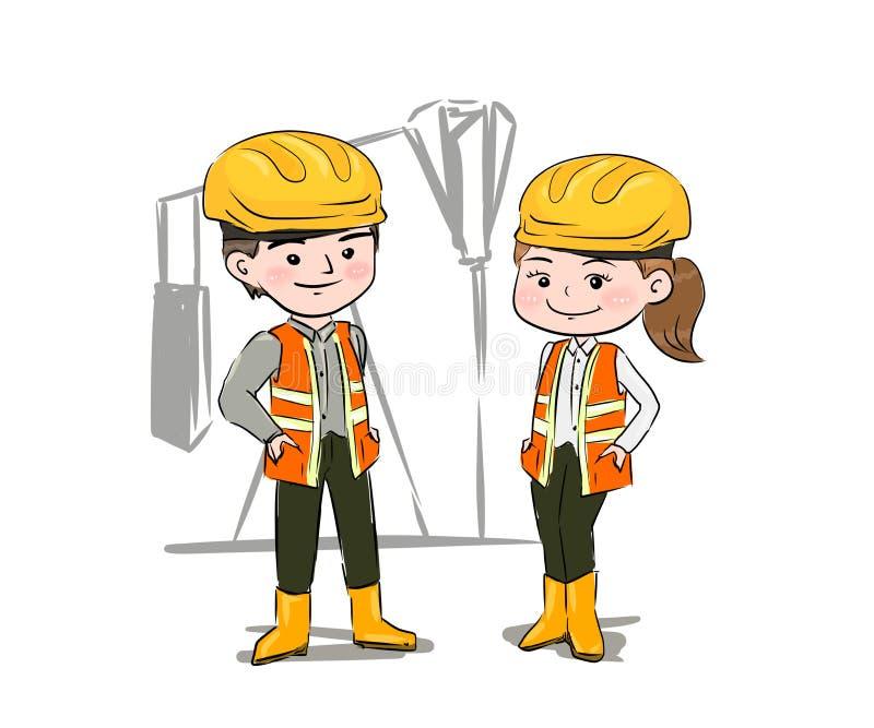 Un hombre y una mujer son trabajo sobre plataformas petroleras, y en la industria petrolera ejemplo, dibujo de la mano ilustración del vector