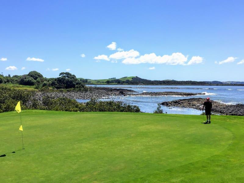Un homme alignant un putt tout en jouant au golf dans Waitangi, île du nord, Nouvelle-Zélande photographie stock libre de droits
