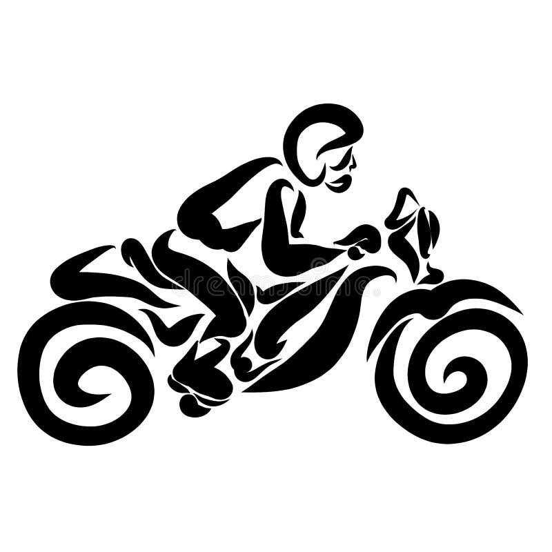 Un homme avec un casque sur ses tours principaux une moto, transportent illustration de vecteur