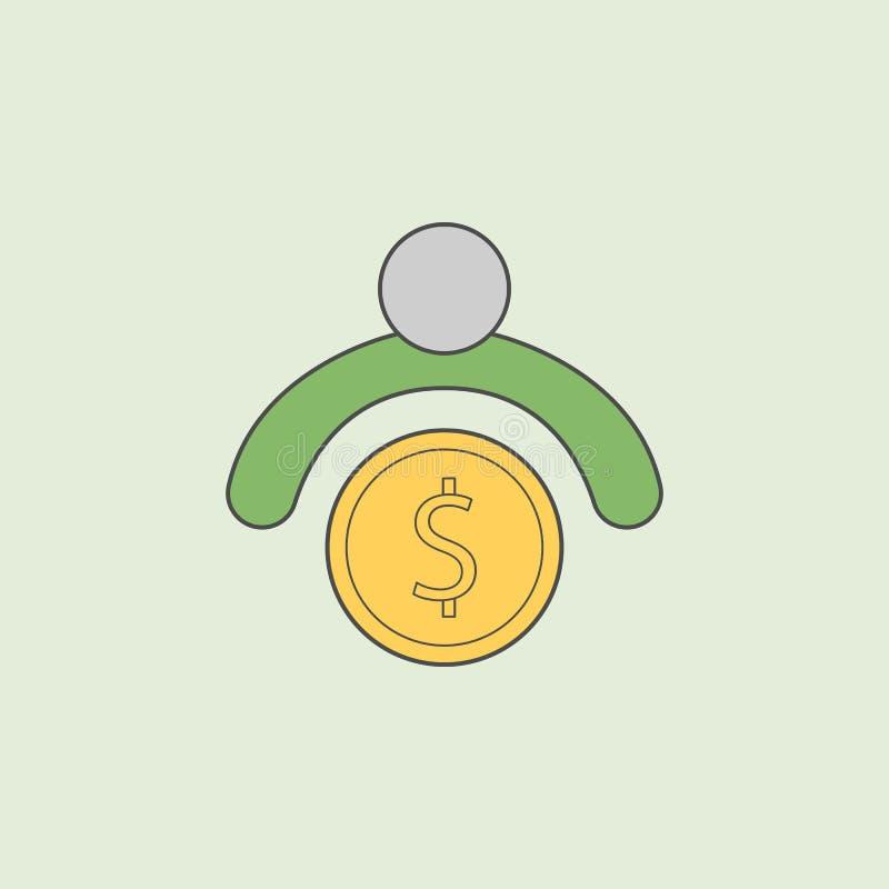 un homme avec l'icône d'argent Élément d'icône d'opérations bancaires pour les apps mobiles de concept et de Web Le contour de ch illustration de vecteur
