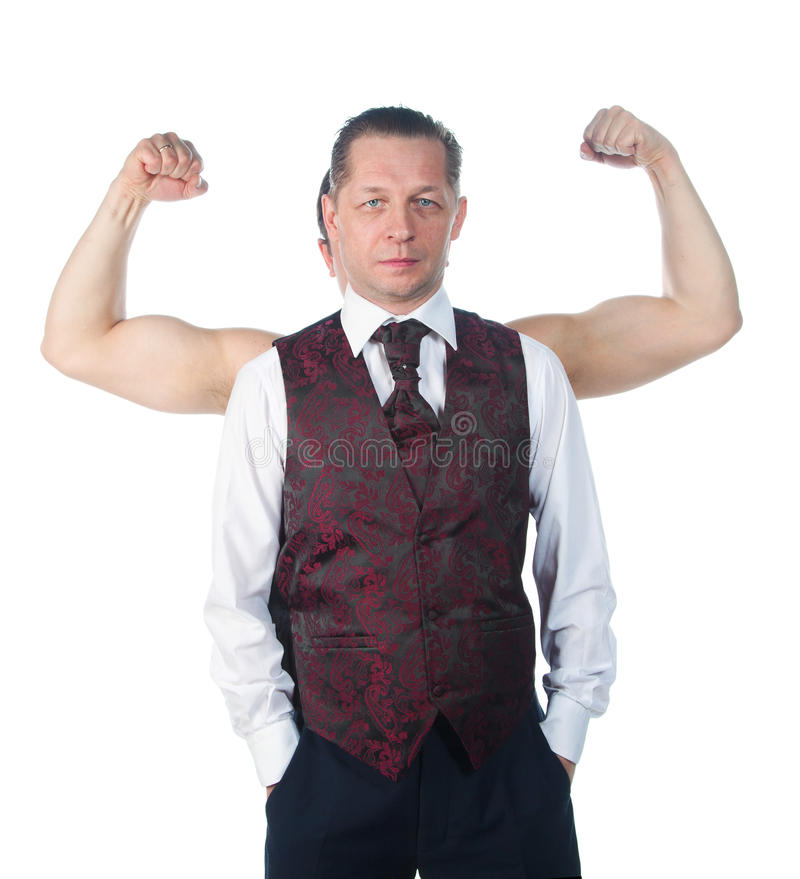 Un homme avec le biceps photographie stock libre de droits