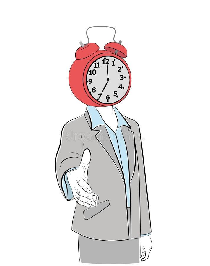 Un homme avec un réveil sur sa tête étire sa main Relation d'affaires Illustration de vecteur illustration libre de droits