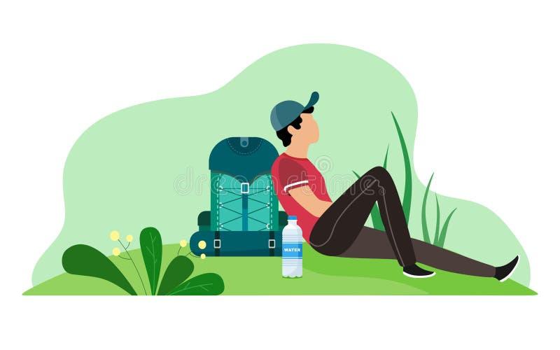 Un homme avec un sac à dos assis pour éteindre son illustration de vecteur de soif sur le fond blanc loisirs illustration libre de droits