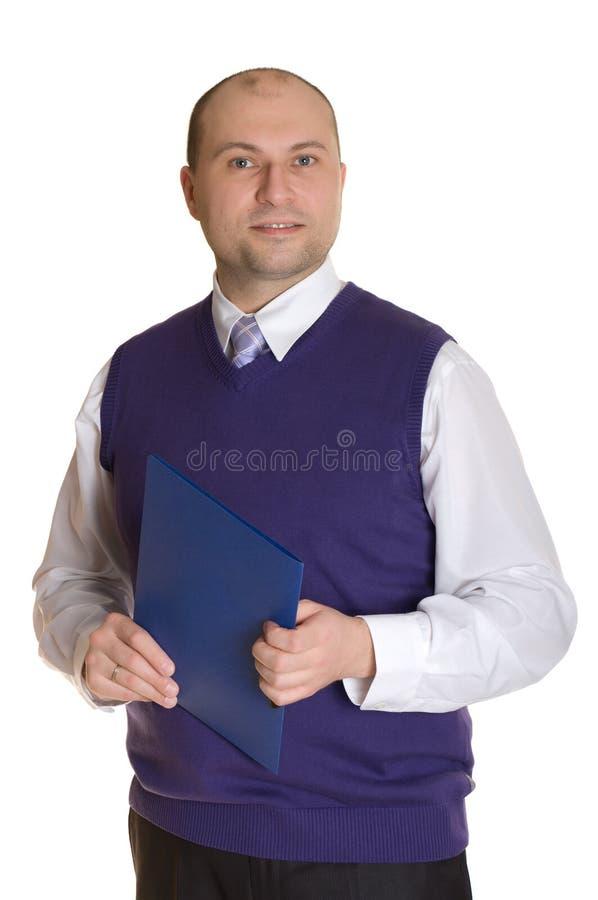 Un homme avec un dépliant photo libre de droits