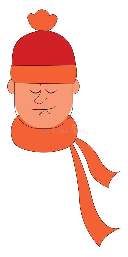 Un homme avec une écharpe orange nouée autour de son vecteur ou de son illustration de couleur illustration libre de droits