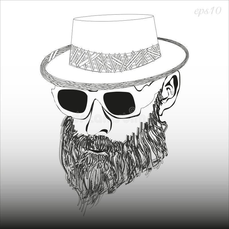 Un homme avec une barbe avec des verres et un chapeau illustration stock
