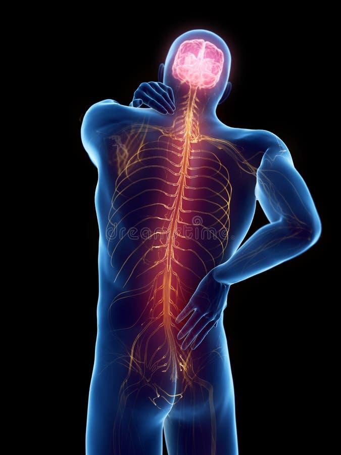 un homme ayant un dos douloureux illustration de vecteur