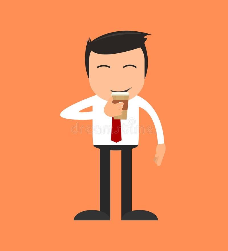 Un homme buvant une tasse de café illustration stock