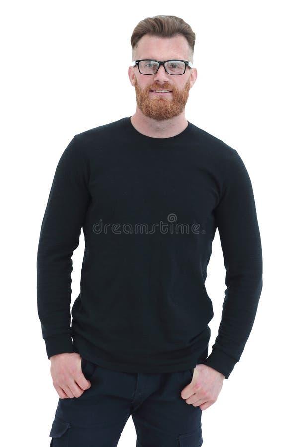 Un homme confiant dans un goulot d'étranglement noir. isolé sur blanc photo stock