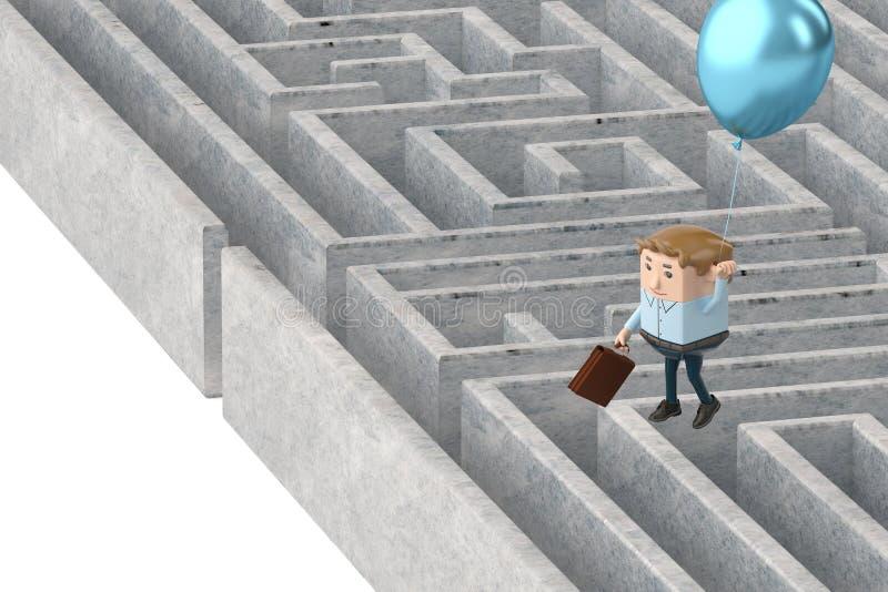 Un homme d'affaires accrochant sur les ballons volant au-dessus du labyrinthe 3d IL illustration libre de droits