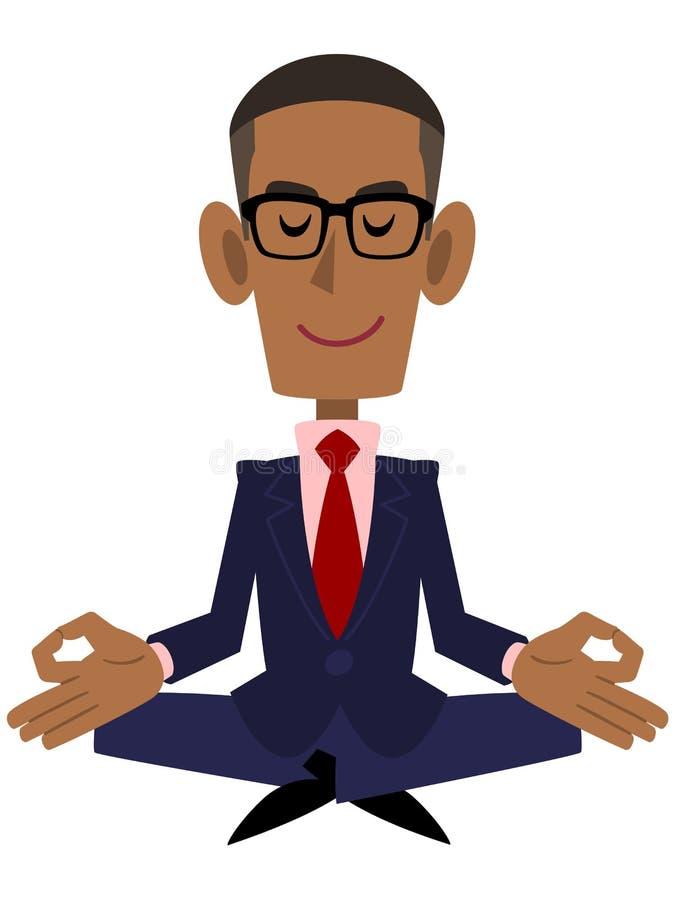 Un homme d'affaires afro-américain qui travaille dans la méditation de zen illustration libre de droits