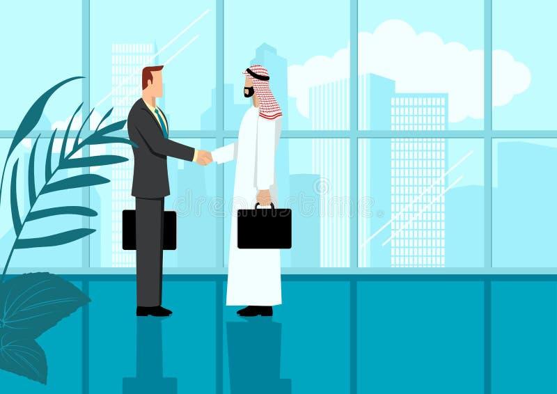 Un homme d'affaires arabe serrer la main à un homme d'affaires occidental illustration libre de droits