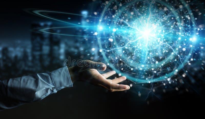 Un homme d'affaires crée à la main une énergie écologique renouvelable et durable avec rendu 3D de la sphère électrique images libres de droits