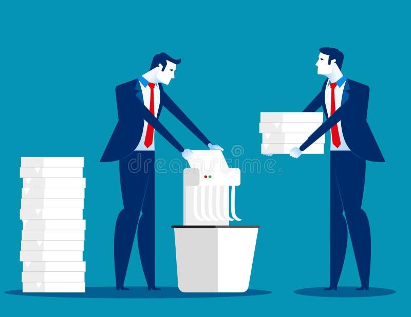 Un homme d'affaires déchiquette les documents importants Illustration de vecteur d'affaires de concept illustration stock