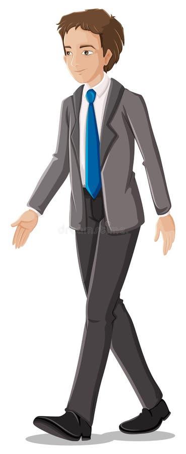 Un homme d'affaires dans son vêtement formel avec une cravate bleue illustration de vecteur