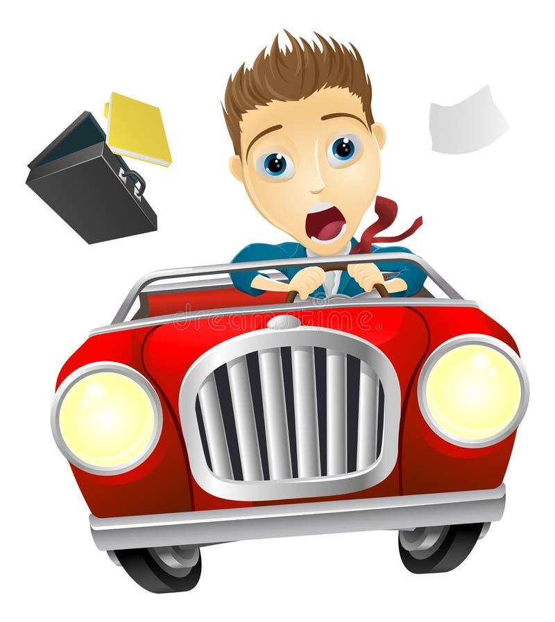 Homme d'affaires conduisant la voiture rapidement illustration stock