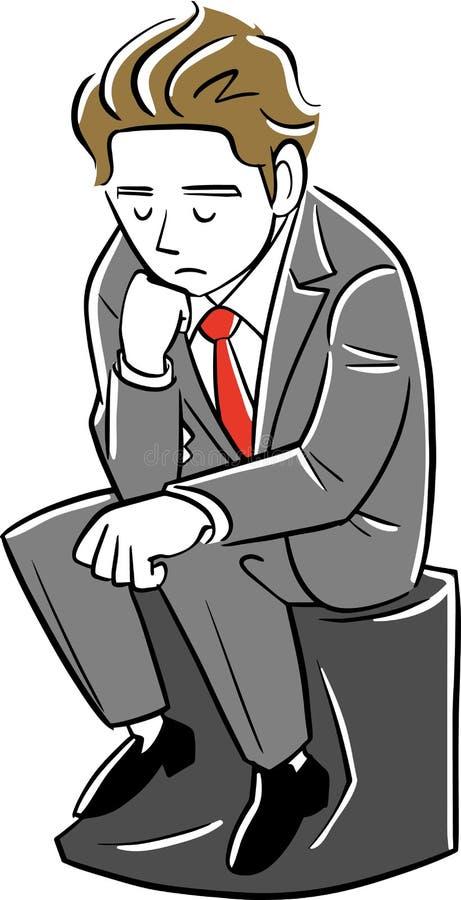 Un homme d'affaires de pensée aiment le penseur illustration stock