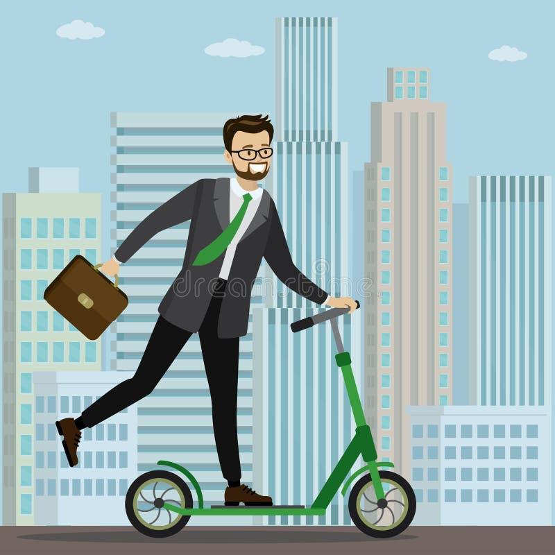 Un homme d'affaires du Caucase en scooter pour travailler illustration stock
