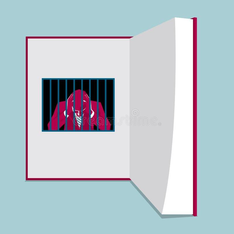 Un homme d'affaires emprisonné par la connaissance illustration de vecteur