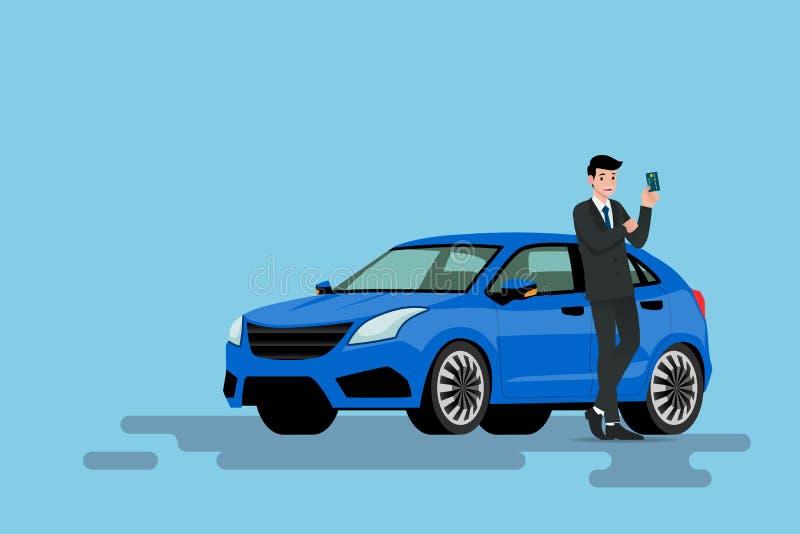 Un homme d'affaires heureux se penche sur sa nouvelle voiture et prouve à sa carte de crédit qu'il emploient acheté le véhicule illustration stock