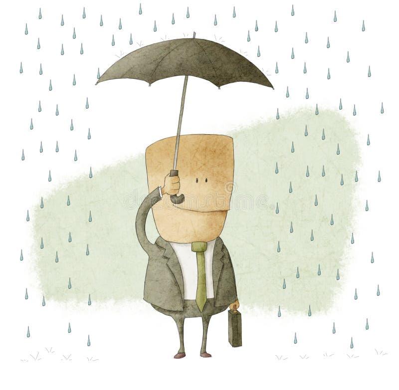 Homme d'affaires heureux sous un parapluie illustration de vecteur