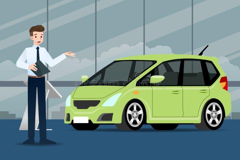 Un homme d'affaires heureux, vendeur tient et pr?sente sa voiture de luxe qui s'est gar?e dans la salle d'exposition illustration libre de droits