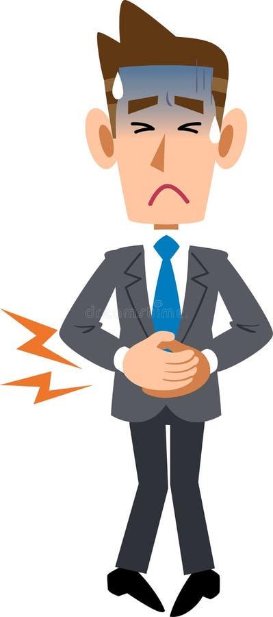 Un homme d'affaires maintenant l'abdomen dû à la douleur abdominale illustration de vecteur