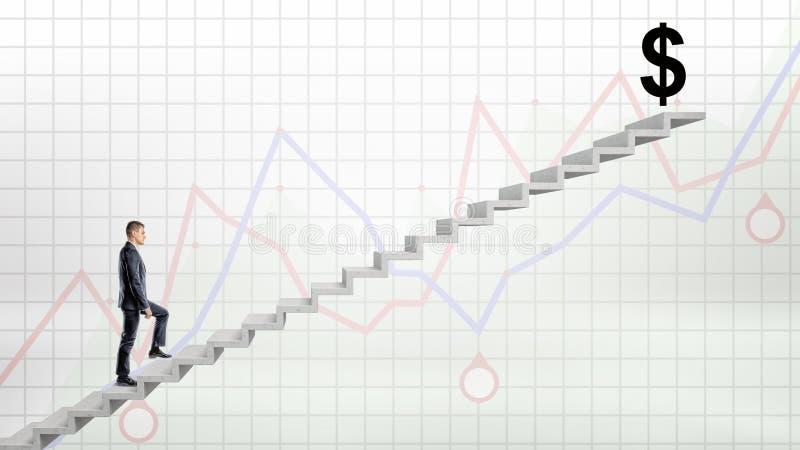 Un homme d'affaires marchant sur l'escalier concret sur le fond rouge et bleu de graphique à grand USD noir se connectent le dess photo libre de droits
