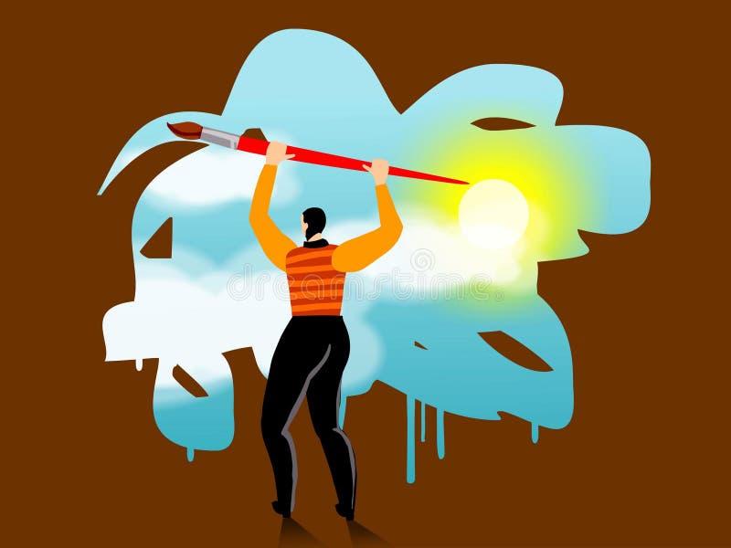 Un homme d'affaires peignant une scène de ciel illustration libre de droits