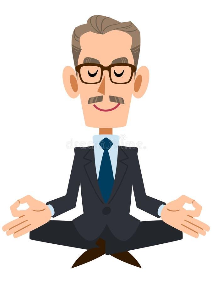 Un homme d'affaires plus âgé qui organise la méditation de zen illustration libre de droits