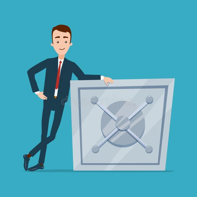Un homme d'affaires se tient près du coffre-fort dans une pose décontractée La main se trouve sur le coffre-fort illustration de vecteur