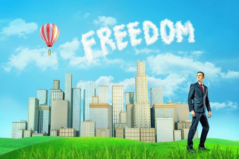 Un homme d'affaires se tient près d'une vallée ensoleillée avec plusieurs hauts bâtiments et une liberté de mot faite des nuages photographie stock