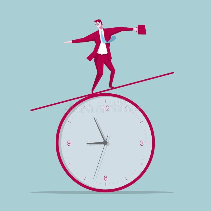 Un homme d'affaires se tient sur l'horloge illustration stock